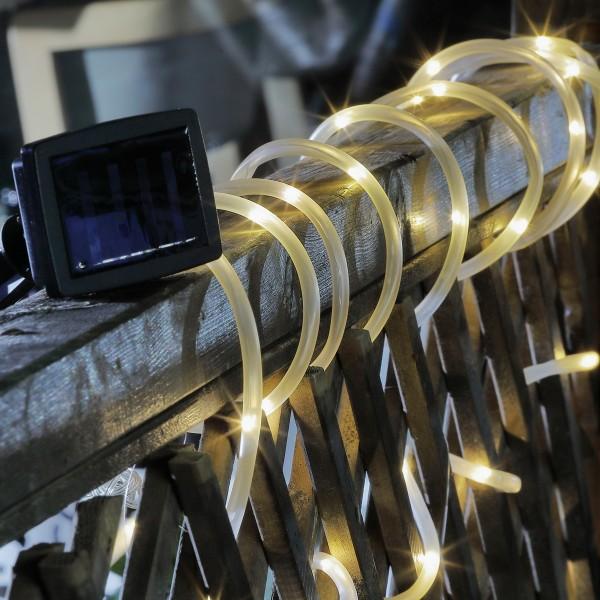 LED Solar Lichterschlauch - 50 warmweiße LED - inkl. Erdspieß - Außenbereich - L: 5m