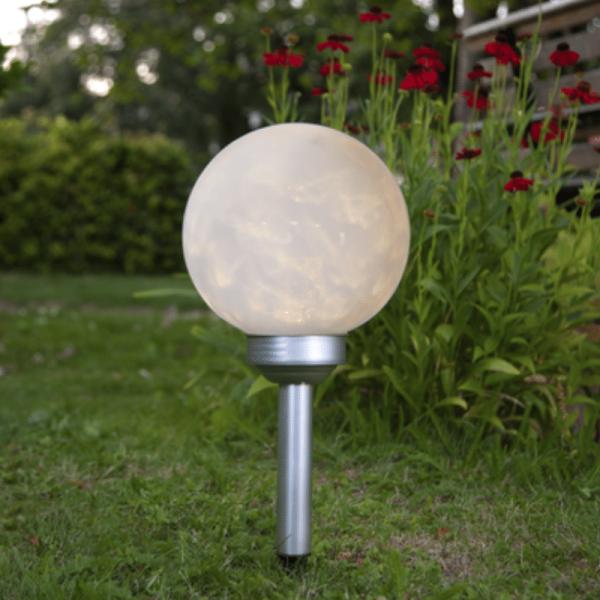 """LED Solar Gartenkugel """"Luna"""" - Erdspieß - warmweiße LED - H: 37cm - D: 20cm - Dämmerungssensor"""