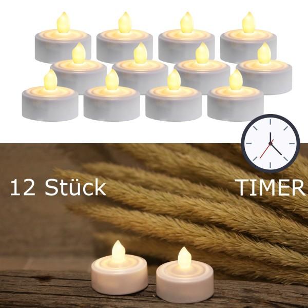 LED Teelicht 12er Set | Paulo | flackernde LED | ↑ 3,5cm | inkl. Timer, inkl Batterien