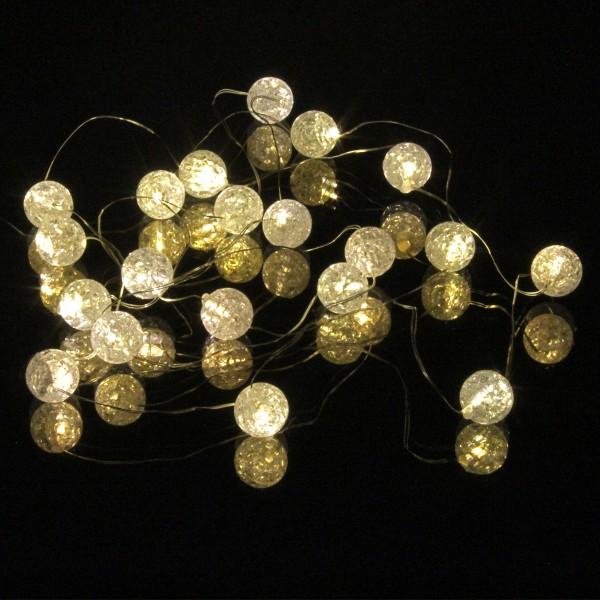 LED Drahtlichterkette mit 20 Kügelchen aus Eisglas - warmweiße LED - Batteriebetrieb - L: 1,8m