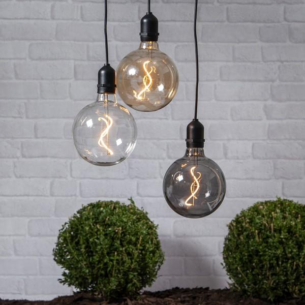 LED Glaskugel/Dekoleuchte BOWL - Filament LED - D: 12,5cm - Batterie - Timer - amber- outdoor