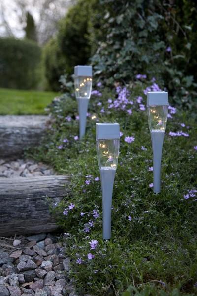 """LED-Solar-Wegleuchten 3er Set """"Hellas"""" - matt silber - 4 warmweiße LEDs - H: 27cm - Dämmerungssensor"""