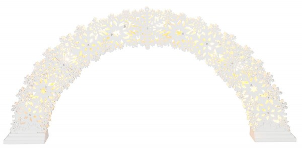 "LED-Fensterleuchter ""Snowflake Bow"" 11 warmwhite LED, Material: Holz Farbe: weiss, ca. 26,5 cm x 57 cm mit Trafo, Vierfarb-Karton"