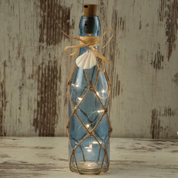 LED Dekoflasche MARITIM mit Juteseil - 10 warmweiße LED an Drahtlichterkette - H: 28cm - blau