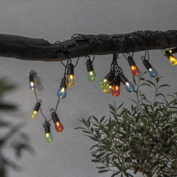 LED Partylichterkette - 16 kleine bunte Kugeln - L: 4,5m - schwarzes Kabel - outdoor