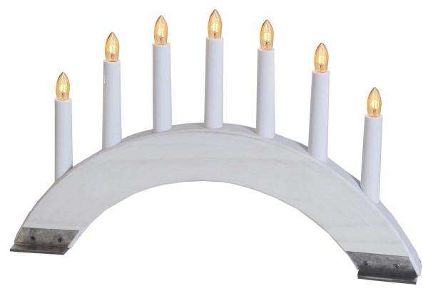 """Lichterbogen """"Viking"""" - 7 warmweiße Glühlampen - L: 42cm, H: 26cm - Holz/Metall - Schalter - Weiß"""