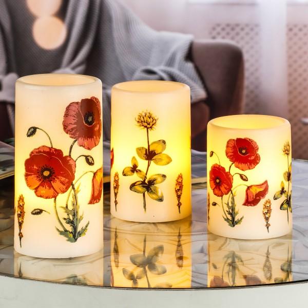 LED Echtwachs Kerzen - flackernde LED - mit Fernbedienung An-/Aus-/Timer - H: 10/12/15cm - 3er Set