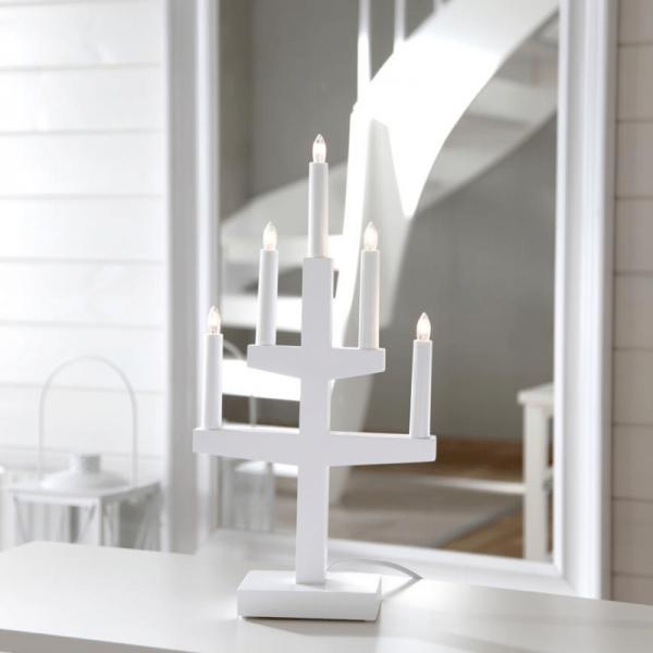 """Kerzenleuchter """"Trapp"""" - 5 Arme - warmweiße Glühlampen - H: 46cm, L: 24cm - Schalter - Weiß"""