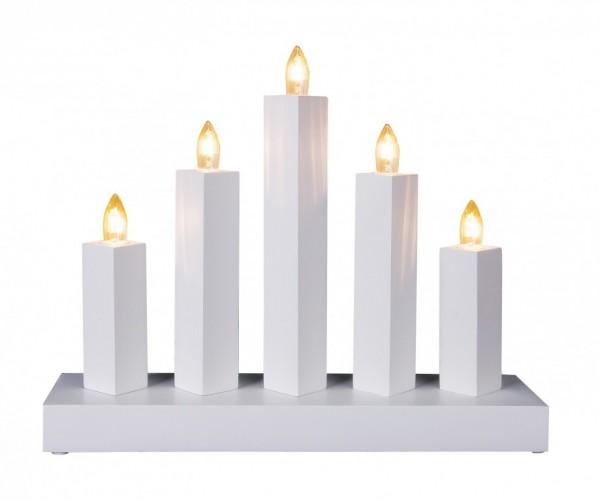 """Fensterleuchter """"RAK"""" - 5flammig - warmweiße Glühlampen - H: 22cm, L: 27cm - Schalter - Weiß"""