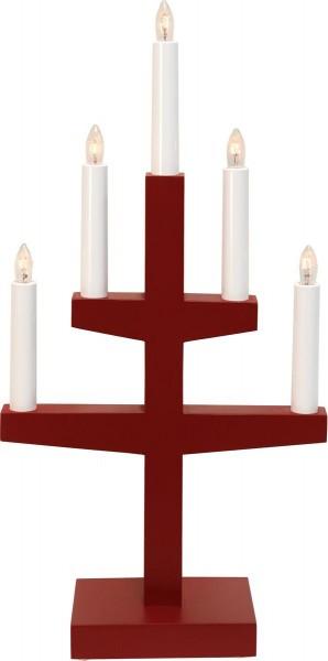 """Kerzenleuchter """"Trapp"""" - 5 Arme - warmweiße Glühlampen - H: 46cm, L: 24cm  - Schalter - Rot"""