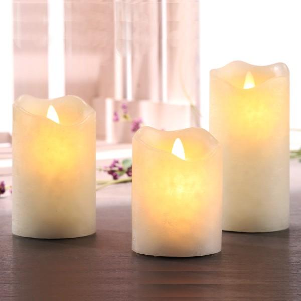 3er Set LED Echtwachs Kerzen mit bewegter Flamme und 4h/8h Timer