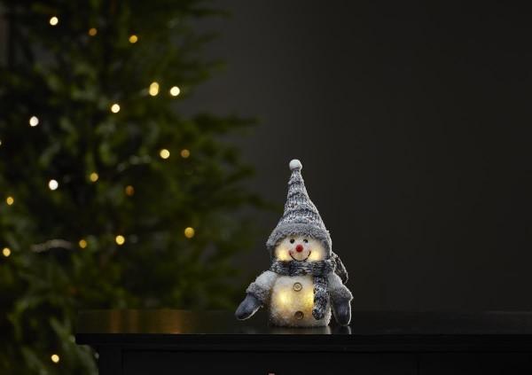 "LED-Stoff-Figur ""Joylight"" - Schneemann - graue Mütze & Schal - 4 warmweiße LEDs - ↑25cm"