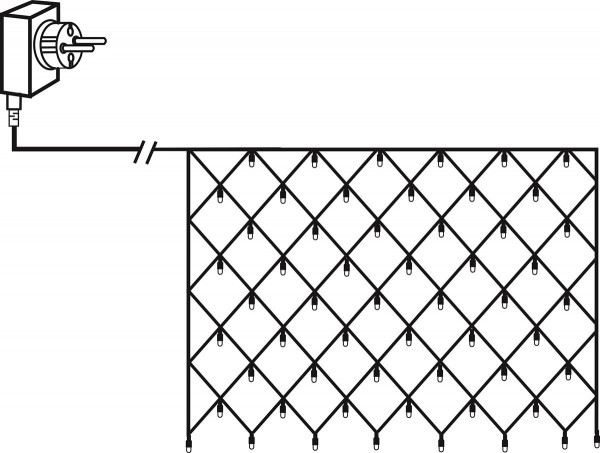 Lichternetz | Serie MICROLED 3mm | 2x1m | schwarzes Kabel | 160 warmweiße LEDs | Trafo