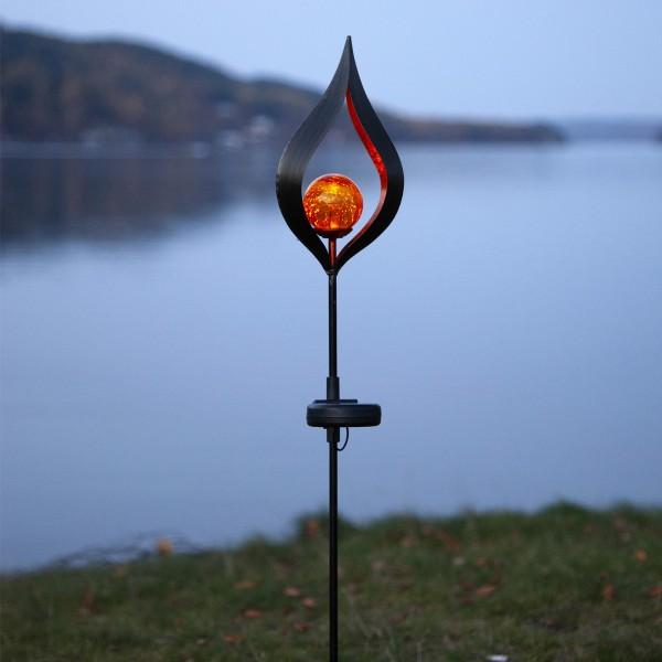 LED Solarstab FLAMME - schwarz - amber LED - Glaskugel in Flamme - H: 70cm - Dämmerungssensor