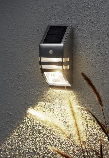Scheinwerfer | Solar | zur Wandmontage | →7,6cm x ↑17cm | 50 Lumen | warmweiß | Edelstahl | mit Bewegungsmelder und Lichtsensor