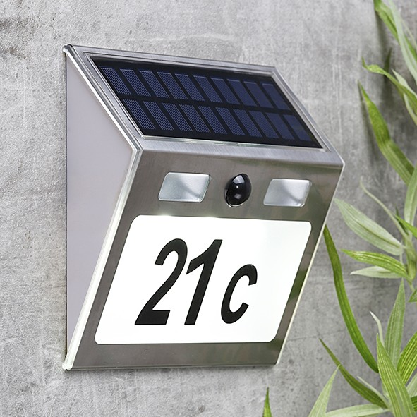 "Solar Hausnummer Edelstahl, Sensor ""MOVE"" - inkl Buchstaben und Zahlen - weiße LEDs - 18x15,5x4,5cm"
