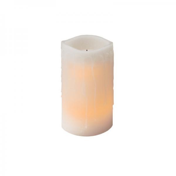 LED-Kerze | Echtwachs | Drip | flackernde LED | Weiß