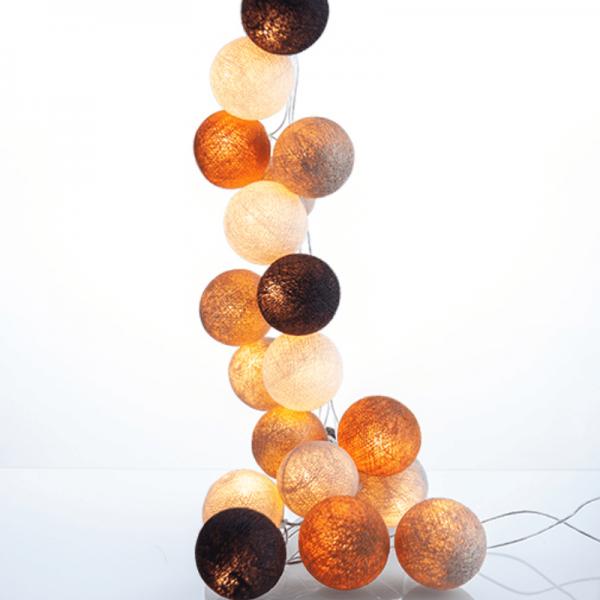 good moods* GOLDENE ZEITEN - Ball-Lichterkette mit 35 Stoffkugeln - 35 warmweiße LEDs