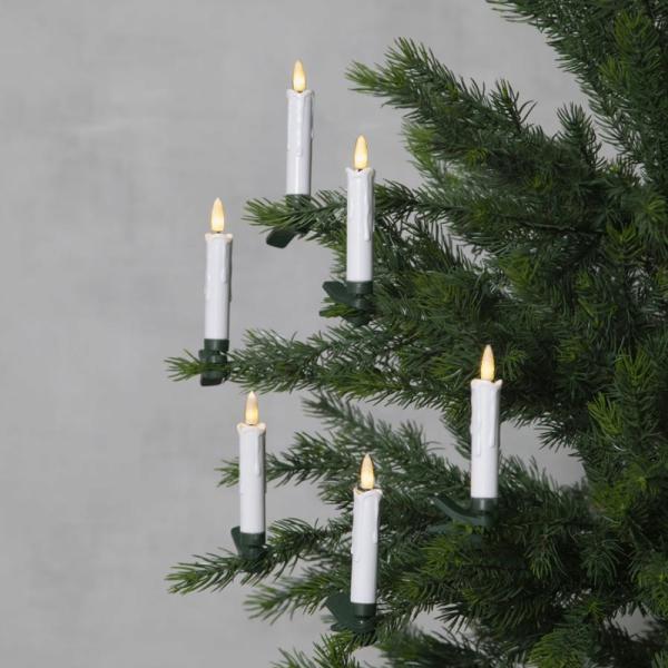 LED Baumkerzen - warmweiße LED - Fernbedienung - Timer - Batteriebetrieb - H: 10,5cm - 10er Set