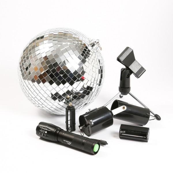 SATISFIRE Discokugel Set - Mobile Party Kit - 20cm Kugel, Motor, Spot, Stativ
