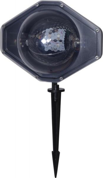 LED Schneeflocken-Projektor - mehrfarbig - Batterie - Timer - outdoor - mit Erdspieß - Fernbedienung