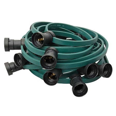 ILLU Lichterkette grün - 100 Meter Installations-Rohware - E27 Fassungen alle 33cm