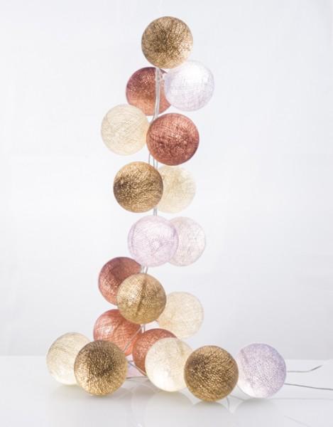 good moods* AUF WOLKE 7 - Ball-Lichterkette mit 20 Stoffkugeln - 20 warmweiße LEDs - Geschenkkarton
