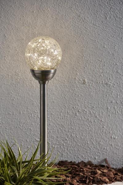 """LED-Solar Stick """"Glory"""" - silbernes shutter-Glas, 30 warmweise LEDs - D: 12cm - Dämmerungssensor"""