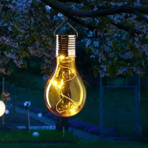 LED Solar Glühbirne GLOW - warmweiße LED Drahtlichterkette - H: 14cm - Lichtsensor - outdoor - gelb