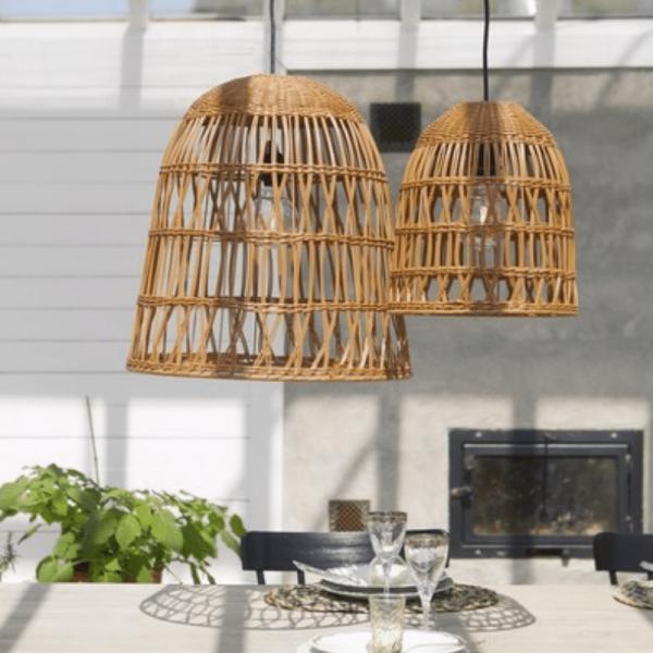 Lampenschirm KNUTE wetterfest - für E27 Fassungen - natur braun - D: 30cm - H: 33cm