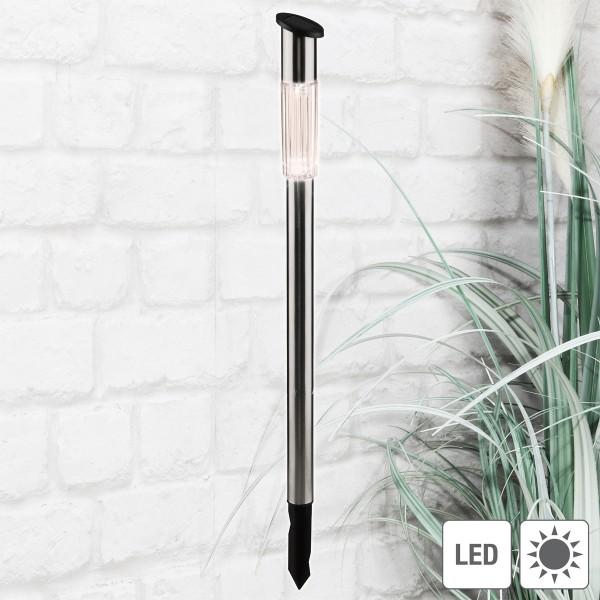 LED Solar Wegleuchte mit Erdspieß - Edelstahl - neutralweiße LED - H: 70cm - silber