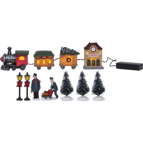 "9er Set LED-Häuser ""Kidsville"" -1 Zug, 2 Waggons, 1 Bahnhof, 2 Laternen, 3 Bäume - bunt - ↑8cm"