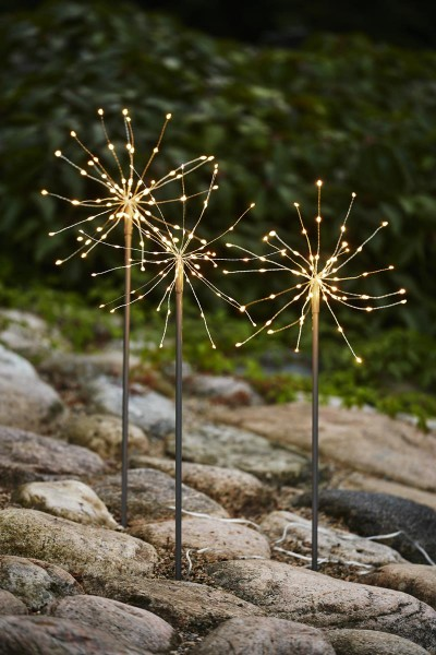 "LED Stäbe 3er Set ""Firework"" - 0,65m - silber - je 60 daylight LEDs - inkl. Outdoor Trafo"