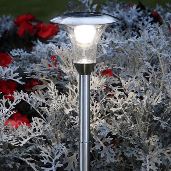 LED-Solar-Wegleuchte - A Line Outdoor - Edelstahl - →18 x ↑51cm - 1x Warmweiß - Silber