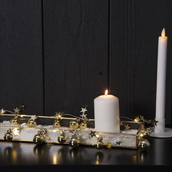"LED-Lichterkette ""Xmas"" - 10 warmweiße LED - goldene Kugeln und Sterne - 0,9m - Batterie - Timer"