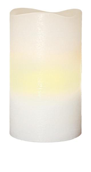 LED-Kerze   Echtwachs   May-Design   flackernde LED   Timer   Weiß   →7.5cm   ↑12,5cm