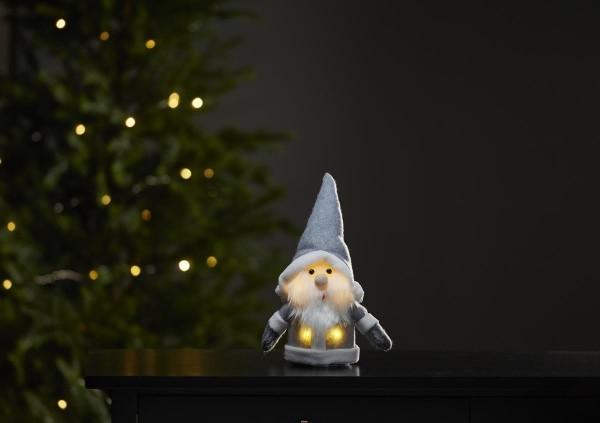 """LED-Stoff-Figur """"Joylight"""" - Weihnachtsmann - graue Mütze & Schal - 4 warmweiße LED - ↑24cm"""