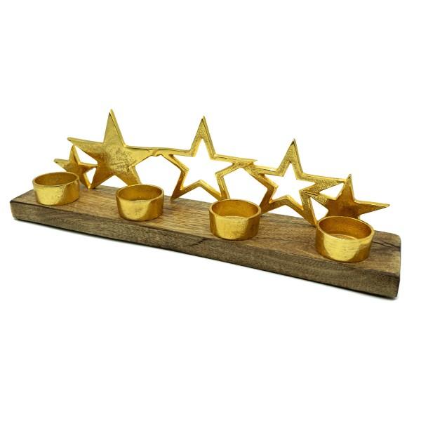 Teelichthalter mit goldenen Sternen auf Holzplatte - für 4 Teelichter
