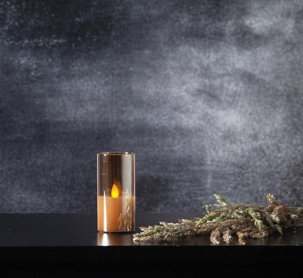 LED Windlicht - TWINKLE - Kerze im goldbraunem Glas - H: 10cm - D: 5cm - Timer - bewegte Flamme