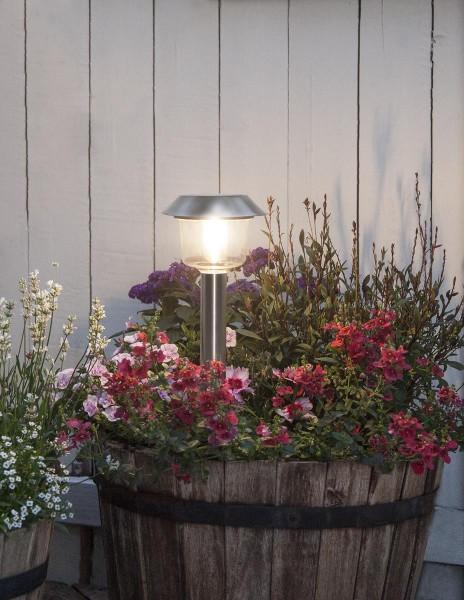 "LED-Solar-Wegleuchte ""Fille"" - Edelstahl - warmweiße LED - H: 30cm - D: 12,5cm - Dämmerungssensor"