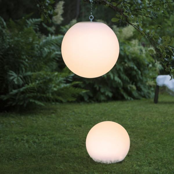 """LED Solar Gartenkugel """"Globy"""" - zum Aufhängen - H: 29cm, D: 30cm - 6 warmweiße LED - Lichtsensor"""