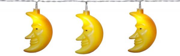 """LED-Lichterkette """"Moon"""" - 8 gelbe Monde mit warmweißen LEDs - 1,05m - Batterie - Timer"""