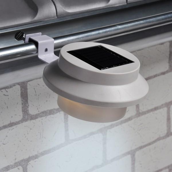 LED Solarleuchte mit Klammer - Dachrinnenleuchte - 3 weiße LED - An-/Ausschalter - weiss - 2er Set