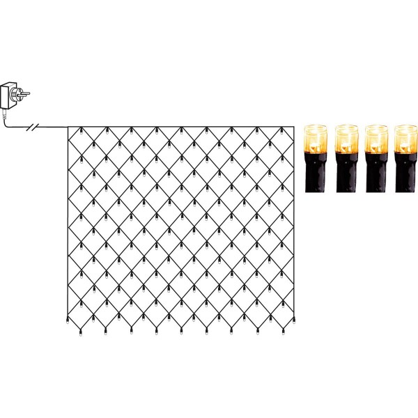 LED Lichternetz - Serie LED - outdoor - 200 ultra warmweiße LED - 3.00m x 3.00m - schwarzes Kabel