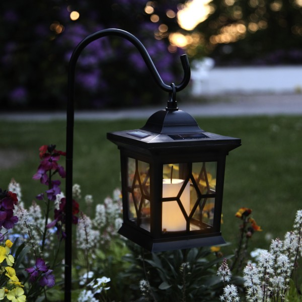 LED Solar Laterne mit Kerze - 3in1 - flackernde LED - Lichtsensor - H: 50cm - schwarz.