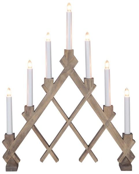 """Fensterleuchter """"Rut"""" - 7flammig - 7 warmweiße Glühlampen - L: 43cm, H: 53cm - Holz - Braun"""