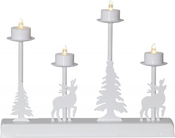 "LED-Leuchter ""Walder"" Material: Metall, Farbe: weiss, 4 warmwhite LED, ca. 32x25 cm, Timer, Batterie, Vierfarb-Karton"