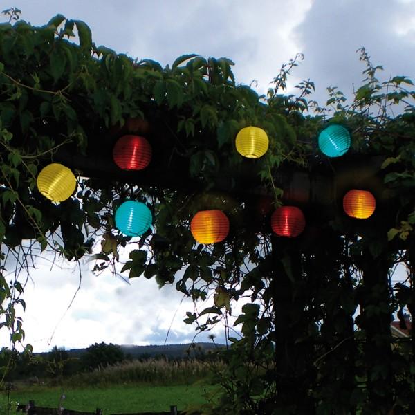 LED Solar Lichterkette Festival - kaltweiß - 10 bunte Lampions - L: 2,70m - outdoor