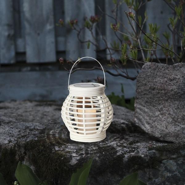 "LED Solar Laterne ""Rotang"" - warmweiße LED - H: 16cm - D: 16cm - Dämmerungssensor - weiß"