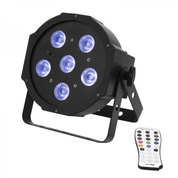 UV Schwarzlicht LED Spot 6x3W - DMX Ansteuerung - 13° Abstrahlwinkel - Musiksteuerung - Fernbedienun
